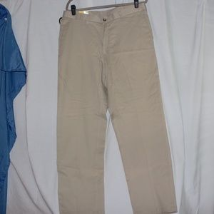 Lee Relaxed fit flat front work pants 36X32 Khaki
